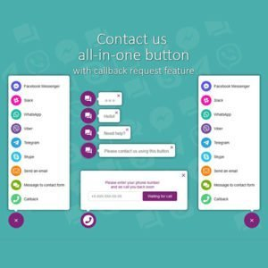 Sale! Buy Discount All in One Support Button + Callback Request. WhatsApp, Messenger, Telegram, LiveChat and more… - Cheap Discount Price